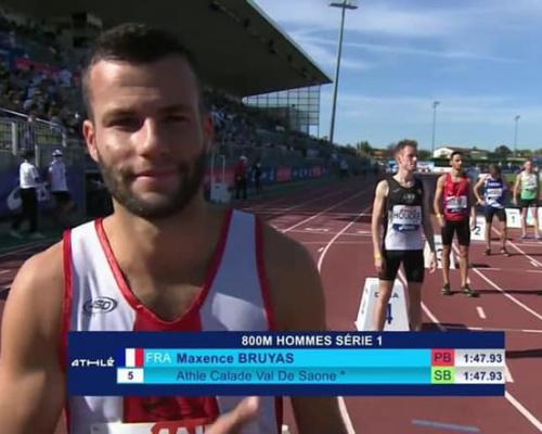 Maxence Bruyas en Finale du France Élite sur 800m